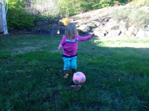 Minute 1: Happily kicking the ball.